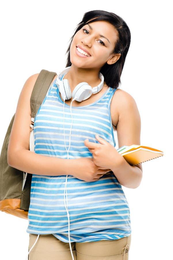 Estudante feliz da raça misturada de volta à escola isolada no backgr branco fotografia de stock royalty free