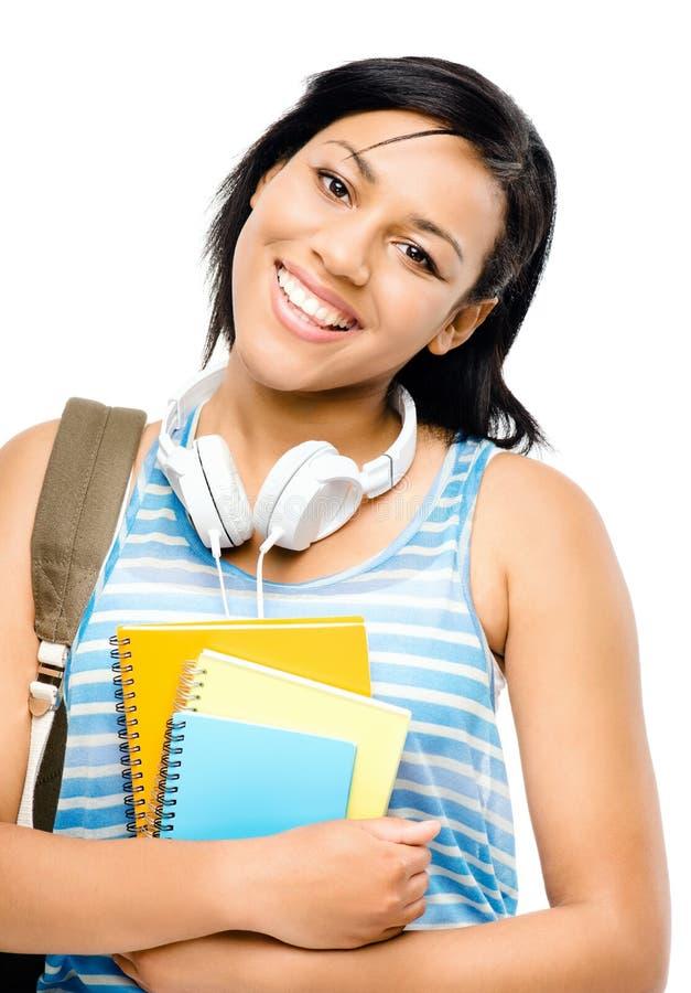 Estudante feliz da raça misturada de volta à escola isolada no backgr branco imagens de stock royalty free