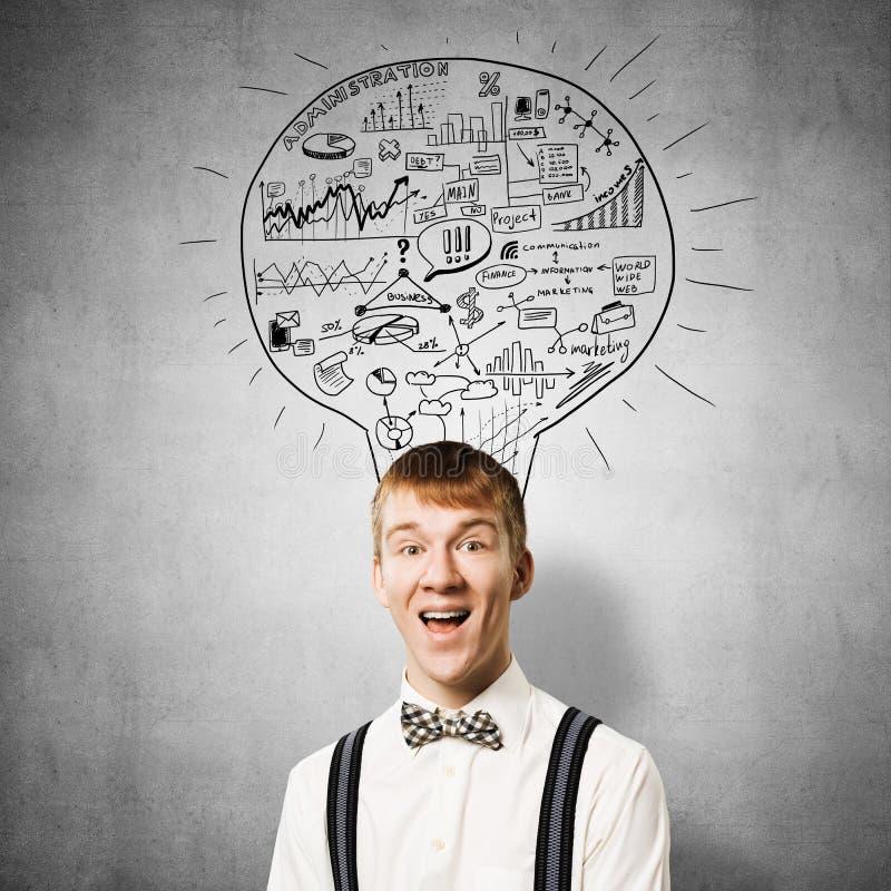Estudante feliz do ruivo com sorriso largo ilustração do vetor