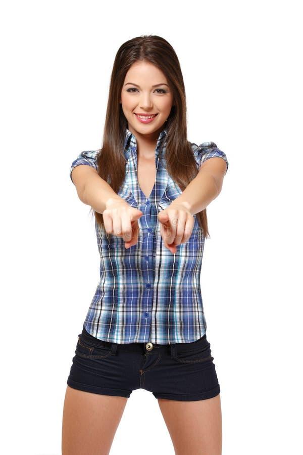 Estudante feliz que aponta em você fotos de stock royalty free