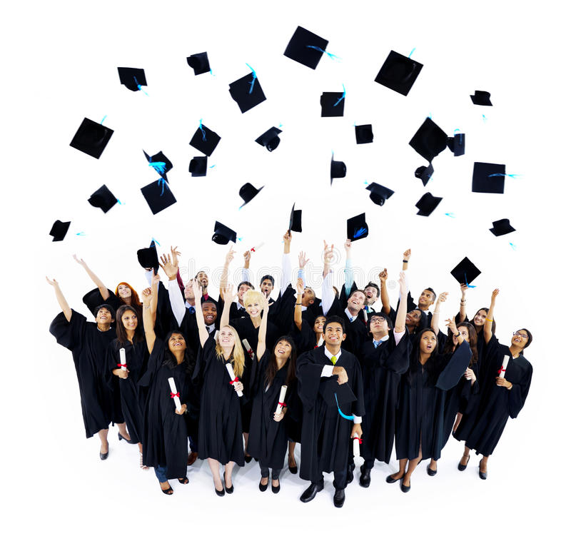 Estudante graduado Throwing Mortarboard do mundo fotos de stock royalty free