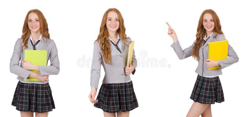 A estudante isolada no branco imagem de stock royalty free