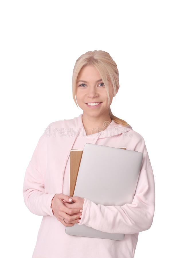 estudante isolado que está com livros e portátil fotos de stock