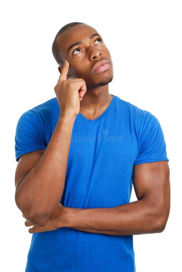 Estudante masculino que pensa sobre o futuro fotos de stock royalty free