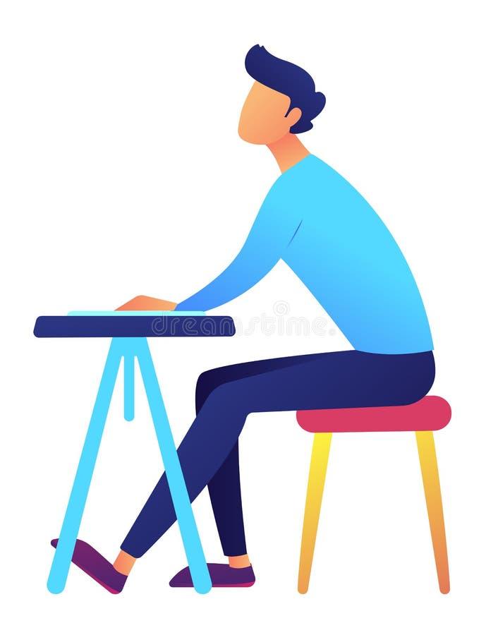 Estudante masculino que senta-se na ilustração do vetor da mesa ilustração royalty free