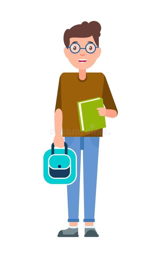 Estudante masculino Teenage Schoolboy Freshman nos vidros ilustração stock