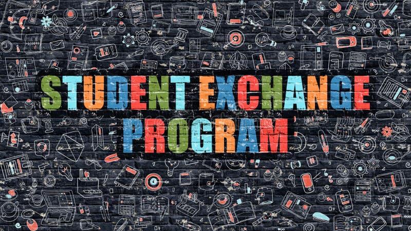 Estudante multicolorido Exchange Program em Brickwall escuro ilustração stock