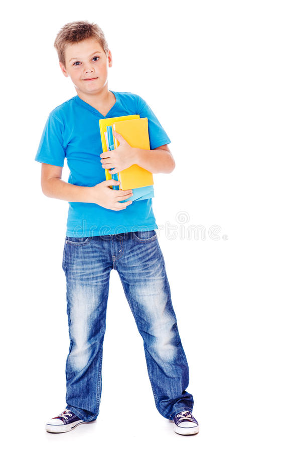 Estudante nas calças de brim e no t-shirt azul fotos de stock
