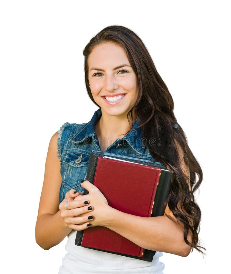 Estudante nova de raça misturada com os livros de escola isolados no branco fotos de stock