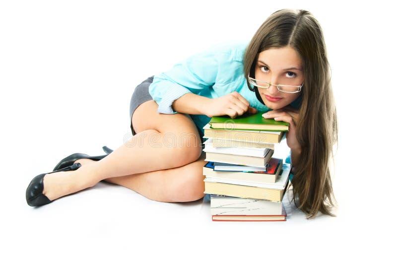 Estudante novo com livros imagem de stock