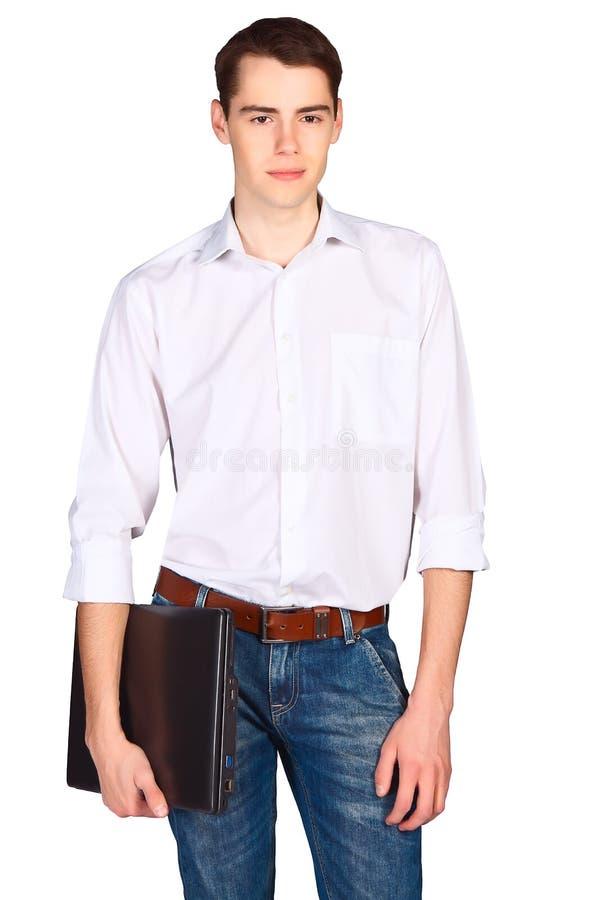 Estudante novo com posição do dobrador isolado no fundo branco fotografia de stock royalty free