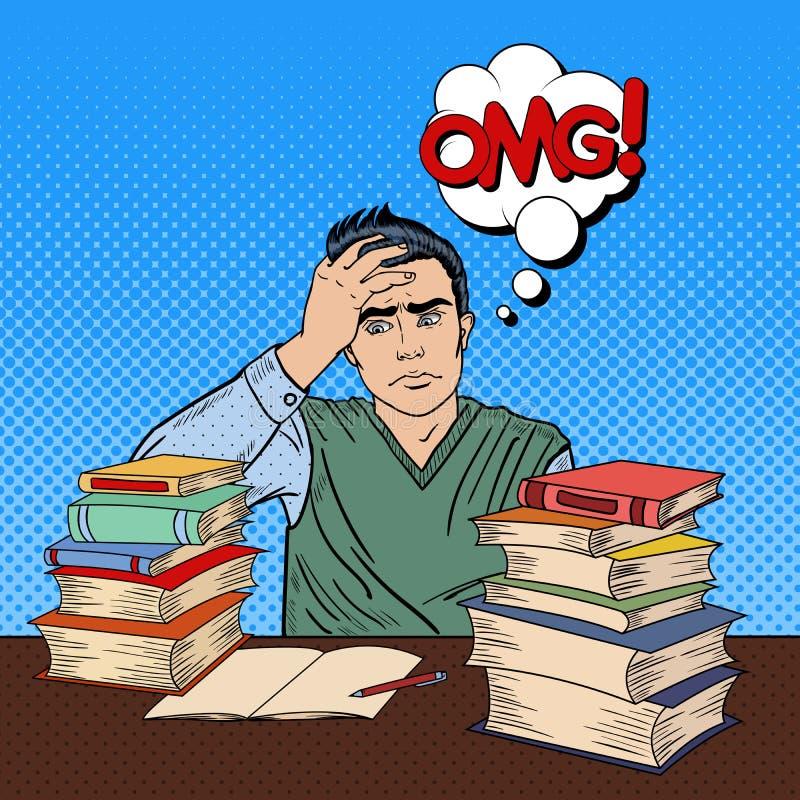 Estudante novo deprimido Sitting na tabela com a pilha de livros Pop art ilustração royalty free