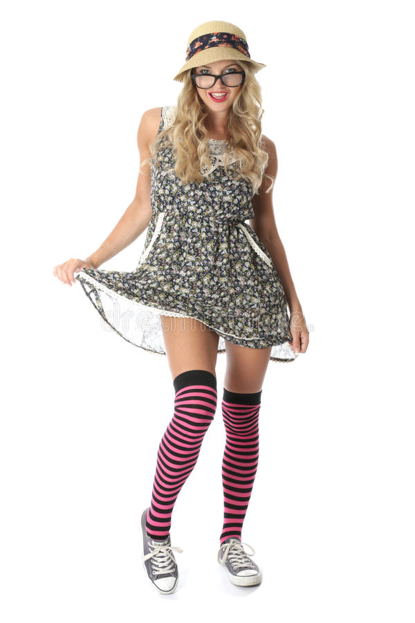 Estudante novo gracioso Wearing Mini Dress imagem de stock royalty free