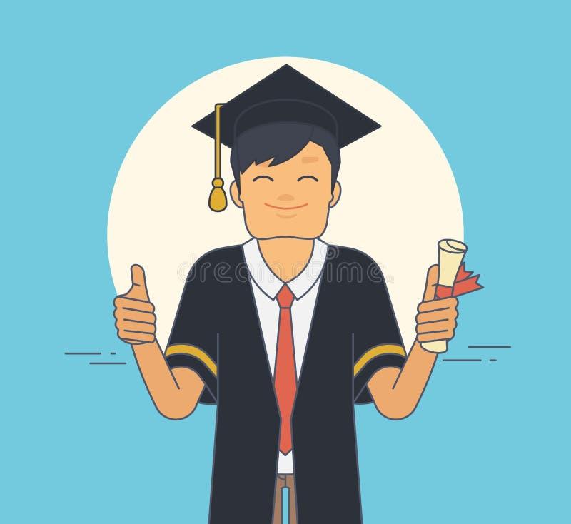 Estudante orgulhoso que veste o envoltório e o chapéu pretos da cerimônia no dia de graduação ilustração do vetor