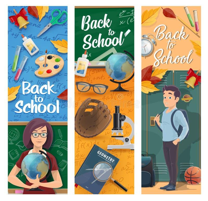 Estudante, professor, sala de aula com fontes de escola ilustração royalty free