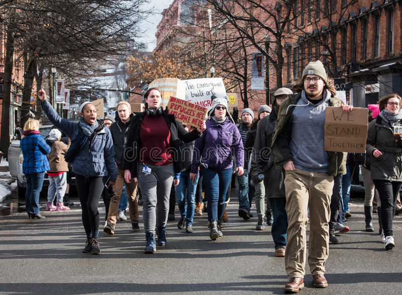 Estudante Protest em ruas de Troy do centro, New York fotografia de stock