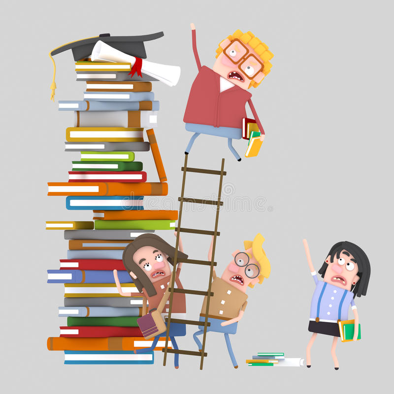 Estudante que escala uma escada ilustração do vetor