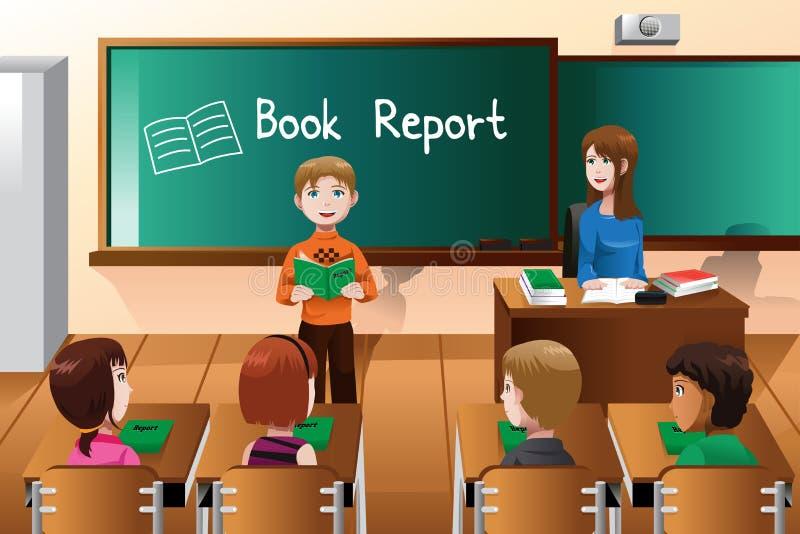 Estudante que faz um relatório do livro ilustração royalty free