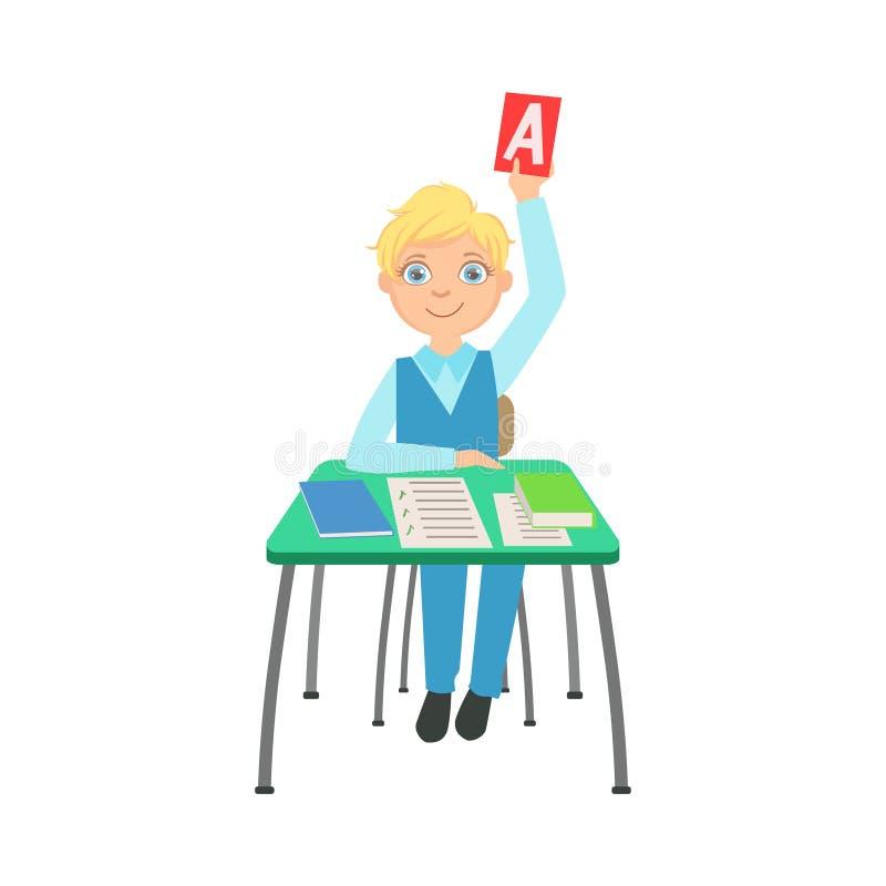 Estudante que senta-se atrás da mesa na turma escolar que aumenta um papel com ilustração da resposta correta, parte dos eruditos ilustração stock
