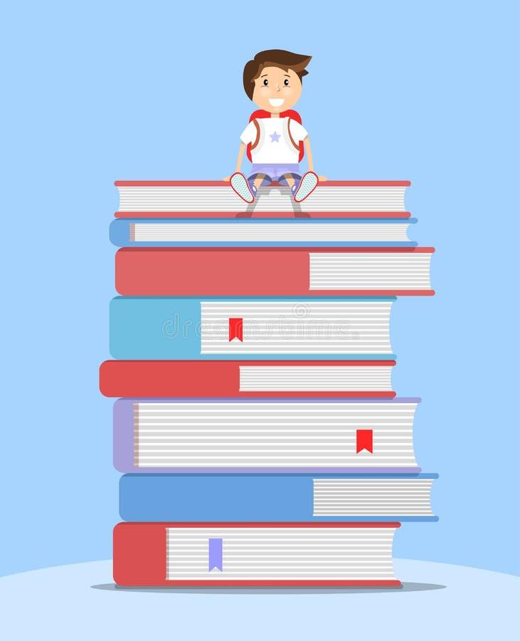 Estudante que senta-se na pilha de livros Ilustração lisa do vetor Conceito da instrução ilustração do vetor