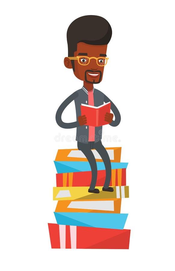 Estudante que senta-se na pilha enorme dos livros ilustração stock