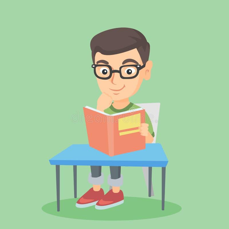 Estudante que senta-se na tabela e que lê um livro ilustração do vetor
