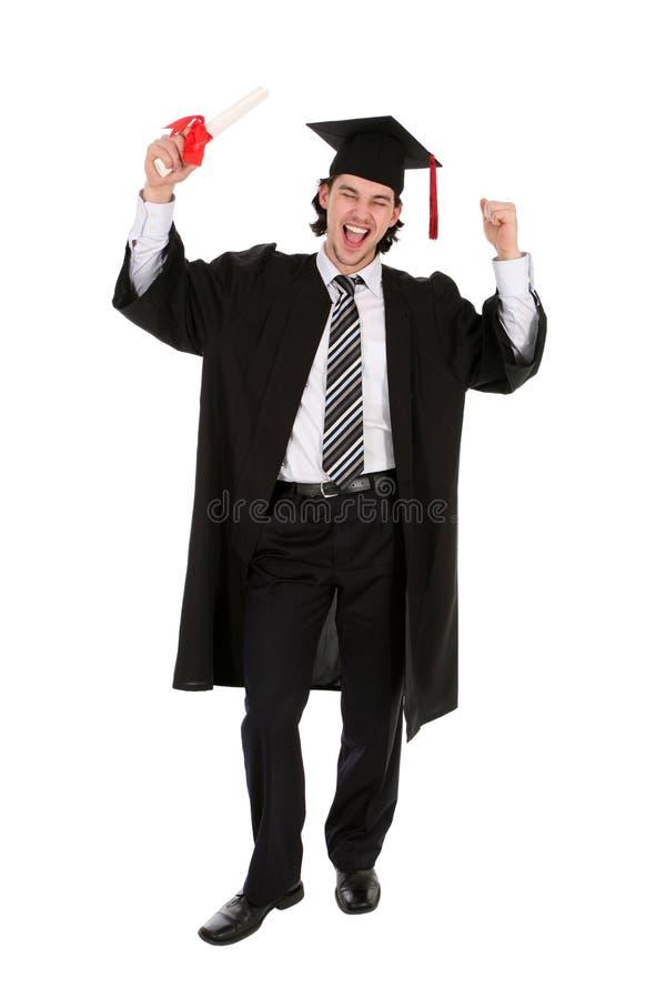 Estudante que sorri prendendo um grau imagens de stock royalty free