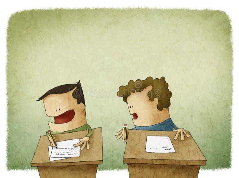 Estudante que tenta enganar-se no exame ilustração stock