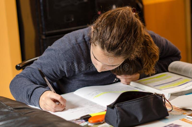 Estudante que trabalha sua lição imagens de stock