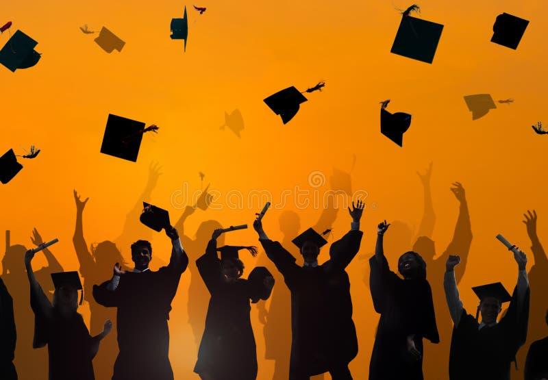 Estudante Success Learning Concep da graduação da educação da celebração fotografia de stock