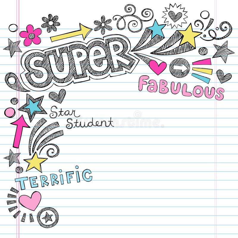Estudante super Praise Back ao caderno Doodl da escola ilustração stock