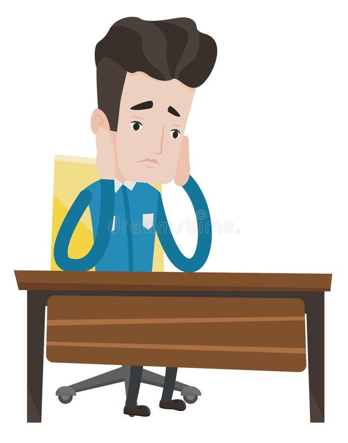Estudante triste esgotado que senta-se na tabela ilustração do vetor
