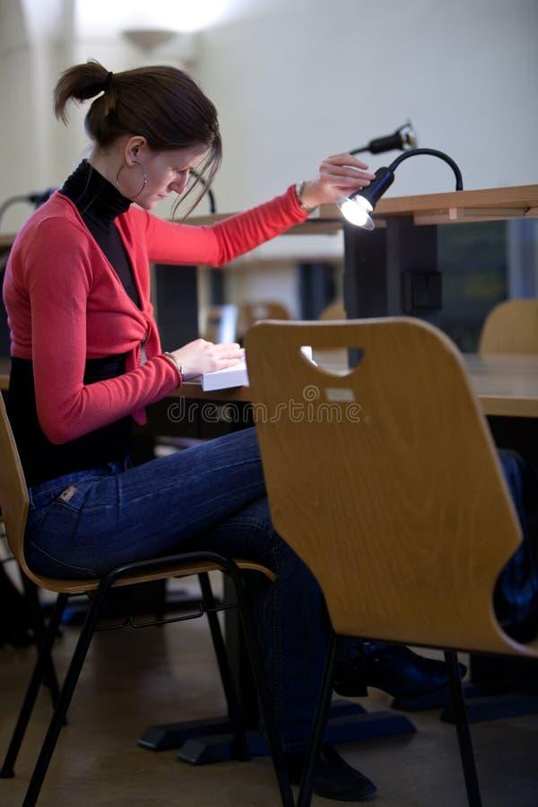 Estudante universitário fêmea bonito em uma biblioteca foto de stock