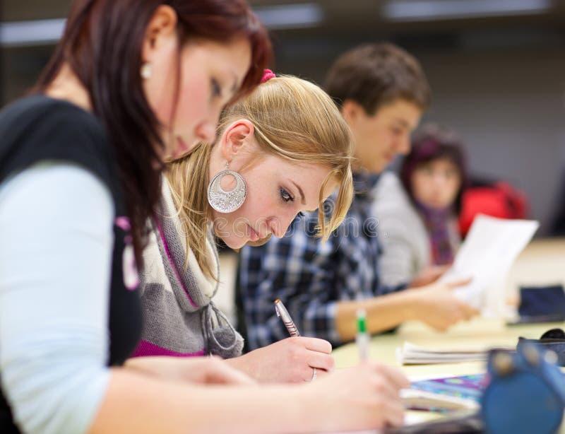 Estudante universitário fêmea bonito em uma sala de aula imagens de stock royalty free