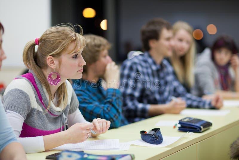 Estudante universitário fêmea bonito em uma sala de aula fotos de stock