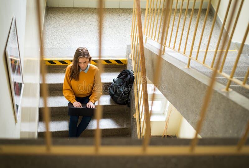 Estudante universitário fêmea nova que senta-se em escadas na escola, escrevendo o ensaio em seu portátil Conceito da instrução fotos de stock royalty free