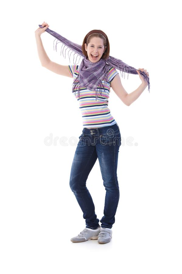 Estudante universitário que levanta com sorriso do lenço foto de stock royalty free