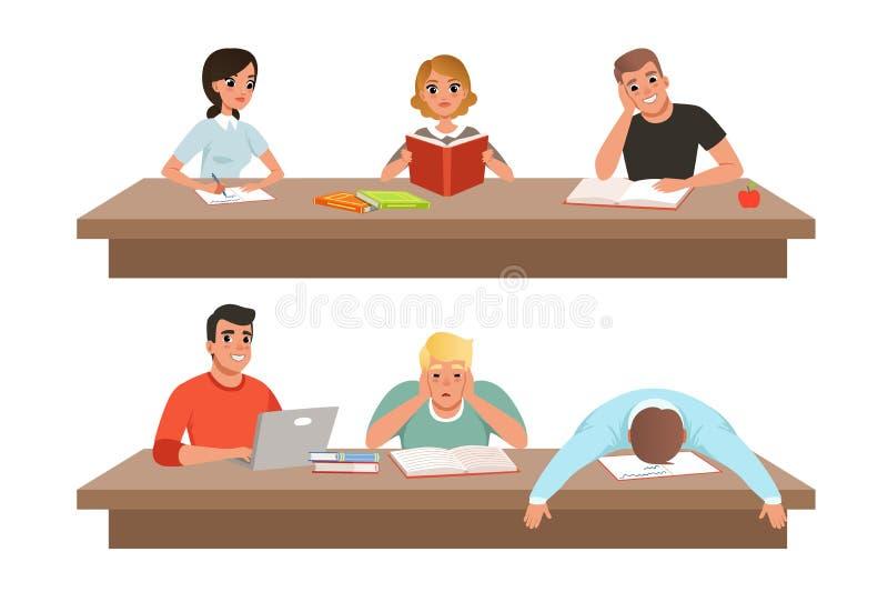 Estudantes acad?micos no grupo da aprendizagem, nos livros de leitura dos jovens e no estudo duramente antes do vetor do exame ilustração royalty free