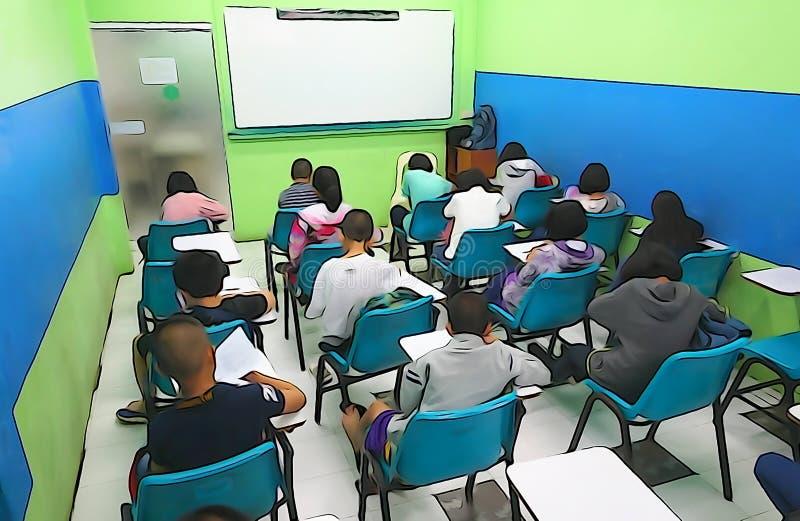 Estudantes asiáticos que têm classes tutoriais foto de stock