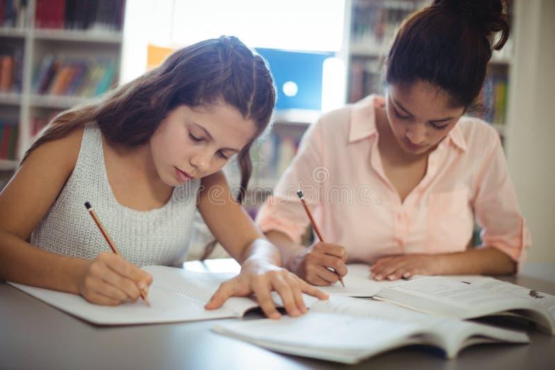Estudantes atentos que estudam na biblioteca fotos de stock royalty free