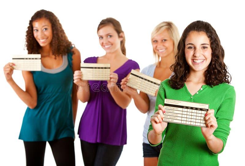 Estudantes: Categorias de Excited About Good do estudante fêmea fotografia de stock royalty free