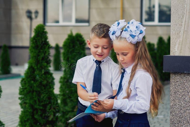 Estudantes da escola primária no rebaixo que faz trabalhos de casa fotografia de stock royalty free