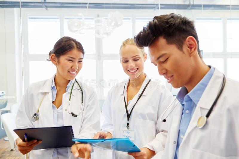 Estudantes da Faculdade de Medicina que aprendem junto fotografia de stock
