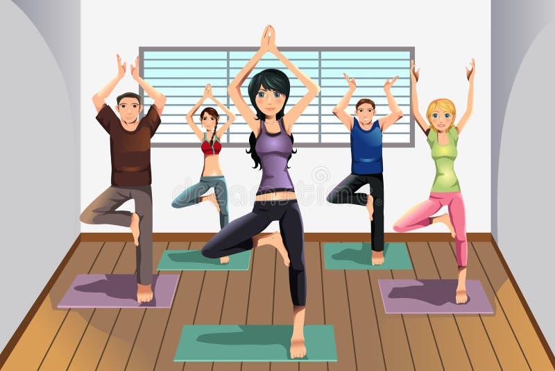 Estudantes da ioga no estúdio da ioga ilustração stock