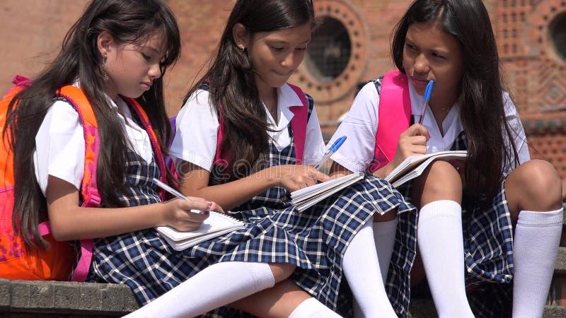 Estudantes de escola de preparação que pensam fardas da escola vestindo fotos de stock royalty free