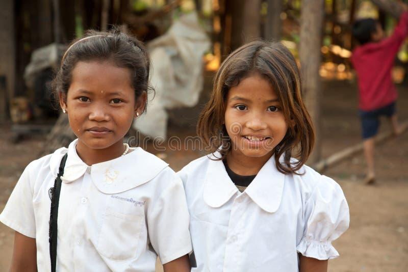 Estudantes de sorriso, Cambodia imagem de stock royalty free