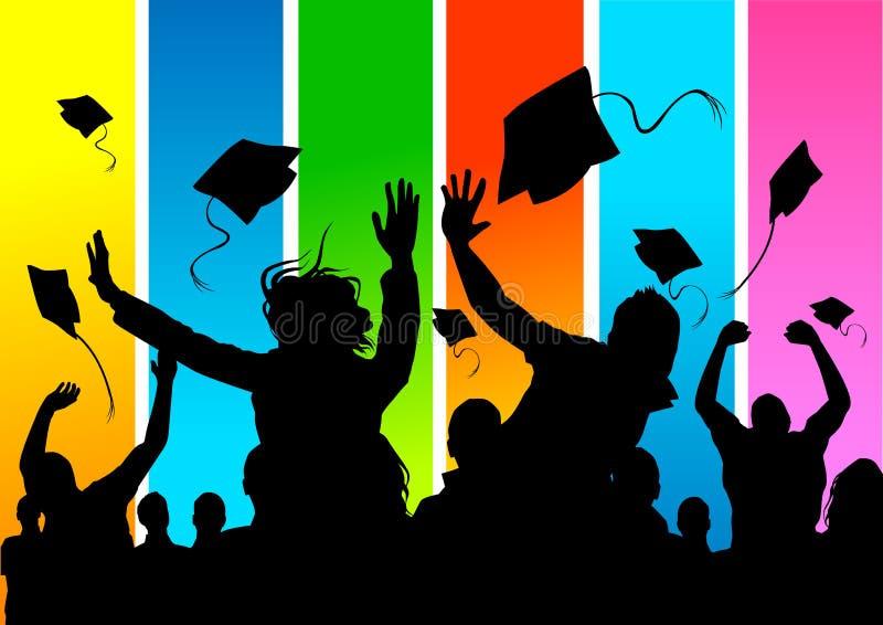 Estudantes de terceiro ciclo felizes! ilustração do vetor