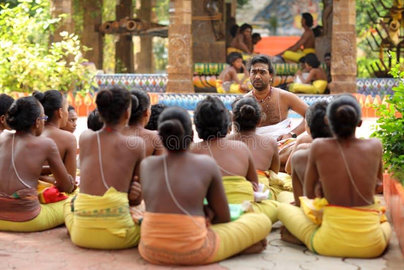 Estudantes do brâmane em Madurai, Índia fotografia de stock royalty free