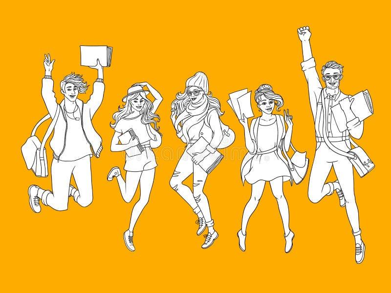 Estudantes do jovem adolescente do esboço do vetor que saltam o grupo ilustração do vetor