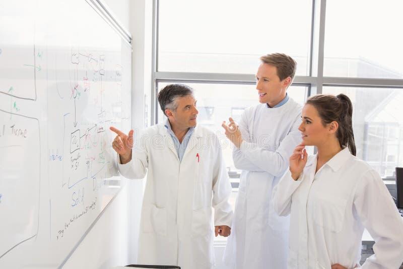 Estudantes e conferente da ciência que olham o whiteboard imagem de stock royalty free